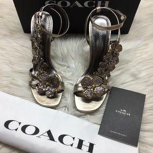 Coach Metallic Floral Heeled Sandals 8M